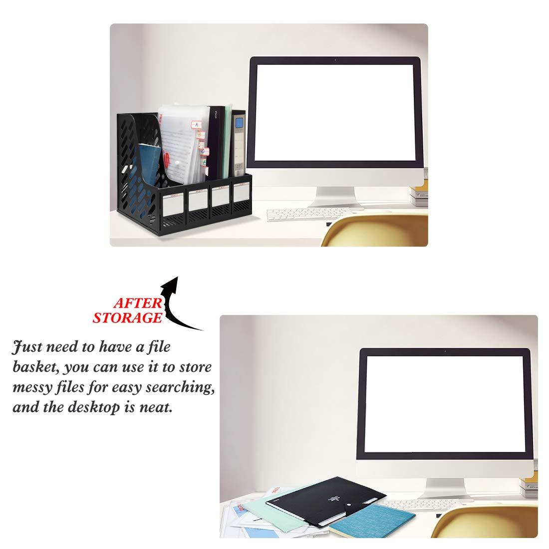 negro Marte Vanci documento escuela escritorio Revistero de 4 secciones de pl/ástico resistente con marcos oficina caja organizadora archivador separadores de archivos