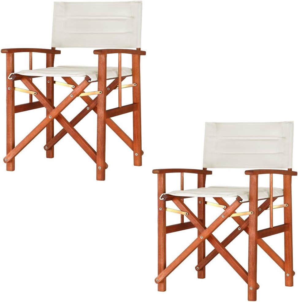 Casaria 2x Directors Chair Foldable Wooden Garden Bistro Cafe Restaurant Patio Balcony Outdoor Furniture Seat Cream