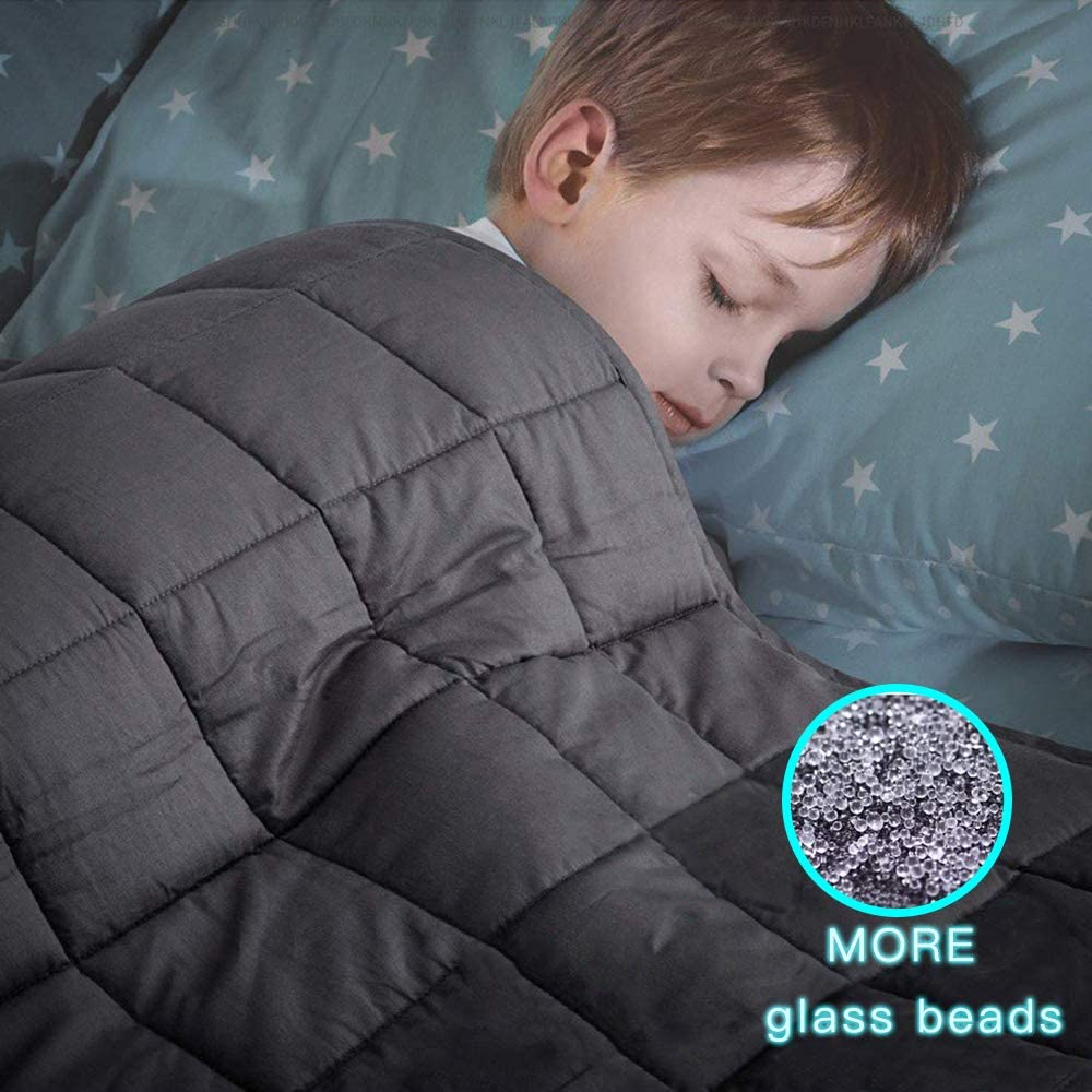 BoxLegend Weighted Blanket for Kids (5lbs 41''x60'',Single Size) Weighs About 30-60lbs,100% Cotton Heavy Blanket with Premium Glass Beads,Grey