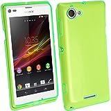 igadgitz Teñido Verde Case TPU Gel Funda Cover Carcasa para Sony Xperia L Android Smartphone + Protector de pantalla