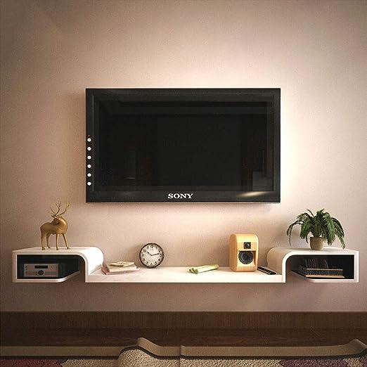 XUQIANG Estante de Pared Mueble de TV montado en la Pared Estante de Fondo Decoración de Pared Consola de TV Dormitorio en la Sala Set-Top Box Rack de Almacenamiento Plataforma de Montaje