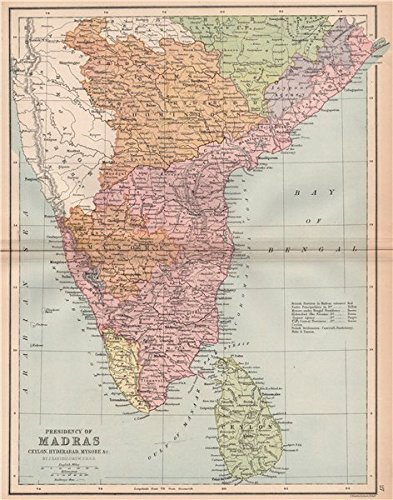 Madras India Map.Amazon Com British India South Madras Presidency Mysore Ceylon