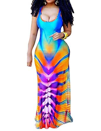 a97207cf2ed XUGWLKJ Women s Plus Size Tank Maxi Dresses Clubwear Printed Dress Gradient  Color