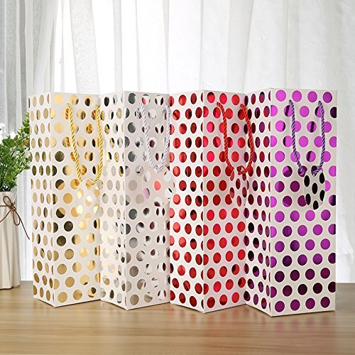 UNIQOOO 12Pcs Premium Quality Metallic Foil Gold,Silver,Red,Purple Polka Dot Wine Gift Bag Bulk, Single Wine Tote 14''x4.75''x3.5'' w/Gift Massage Tag,100% Recyclable Paper,Wine Liquor Carrier Bags Cover by NAVADEAL (Image #9)