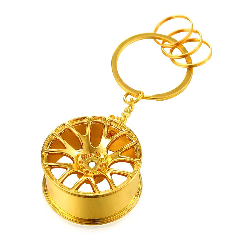 18K Gold Plated Metal Alloy Keyrings For Men With Cool Wheel Hubs Key Tags Causal Car House Key Chain