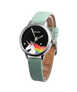 Girls Cartoon Unicorn Pattern Round Dial Faux Leather Quartz Wrist Watch (Mint Green)