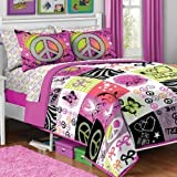 5pc Girl Pink Yellow Purple Black Heart Love Peace Sign Butterfly Zebra Twin Comforter Set (5pc Bed in a Bag)