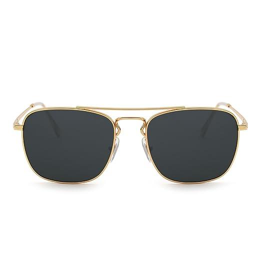 78fb670c3e66a Gafas de Sol Retro Aviador Cuadradas Lente de Vidrio de Alta Calidad Plano  Metal Anteojos Hombre Mujer(Dorado Gris)  Amazon.es  Ropa y accesorios