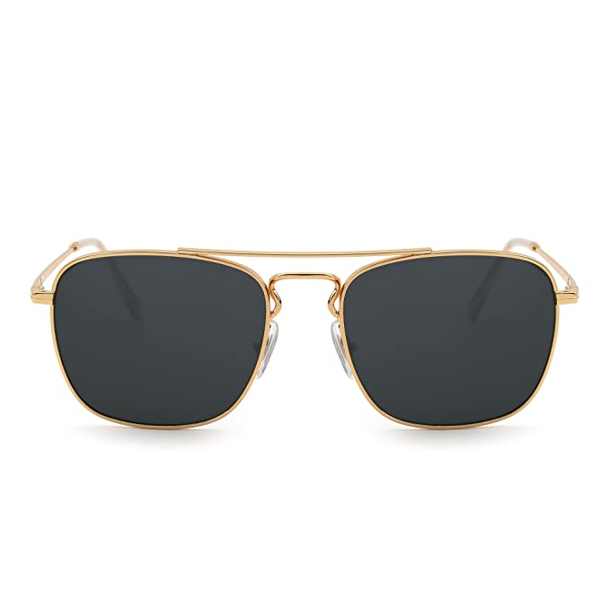 Gafas de Sol Retro Aviador Cuadradas Lente de Vidrio de Alta Calidad Plano  Metal Anteojos Hombre efc6710887