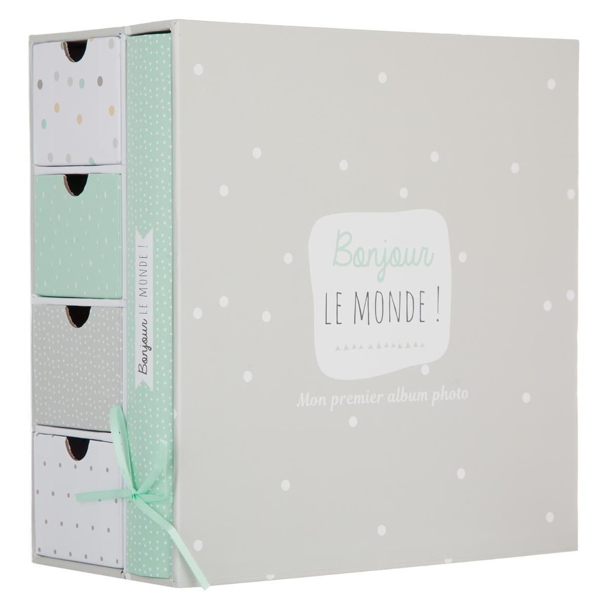 2 en 1 Boîte à souvenirs de naissance + Album photos - Coloris TAUPE et VERT Clair ATMOSPHERA