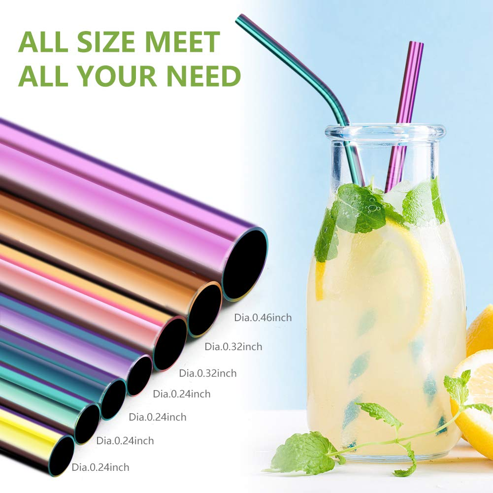 OHFUN Set of 7 Rainbow Drinking Stainless Steel Straws for 20oz 30oz 40oz Tumblers with Carrying Case Reusable Metal Straws 6mm|8mm|12mm 2 Lengths 8.5 Inch|10.5 Inch 2 Cleaning Brushes Rainbow
