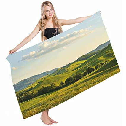 2bf5d059f46e Mugod Beach Towel Bath Towels Country Tuscany Hills Italy Meadow Greenery  Pastoral Rural Farmland Scenic Yoga