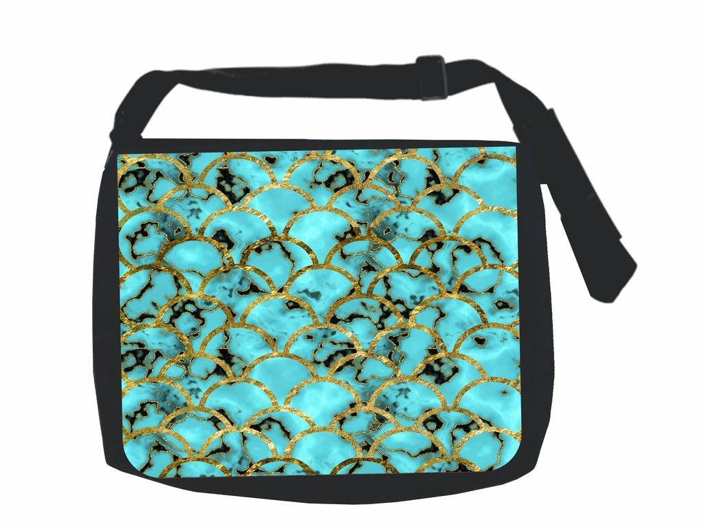 Gilded Marbelized Aqua Scallops Print Design TM School Messenger Bag