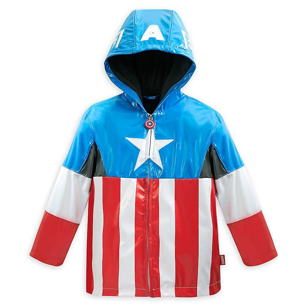 Disney Store Avengers Captain America Rain Jacket/Raincoat Size Medium 7/8