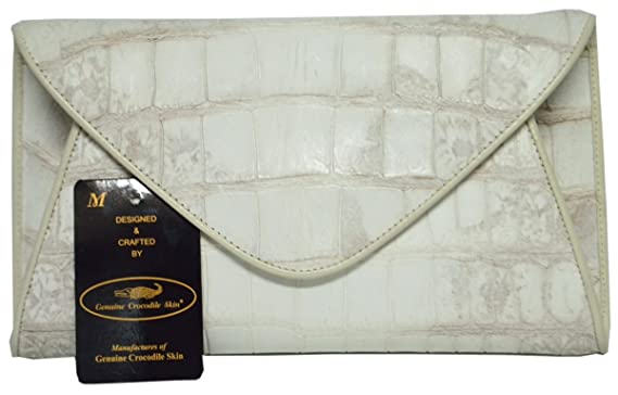 aeddc7d30551 Authentic M Crocodile Skin Womens Belly Clutch Bag Purse Envelope ...