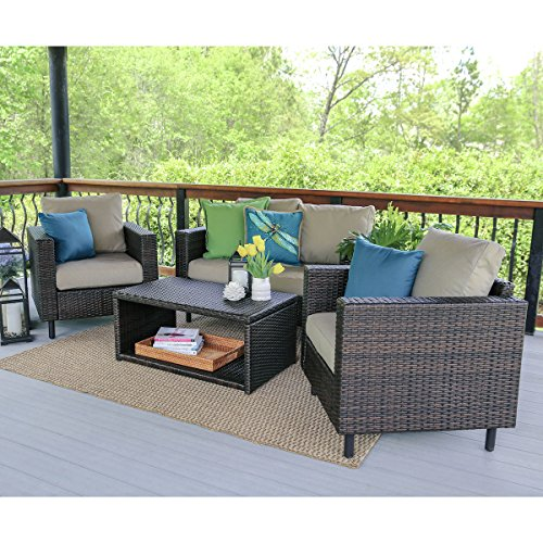 Outdoor Seating Set (Leisure Made Draper Wicker Seating, Tan Fabric, 4 Piece)
