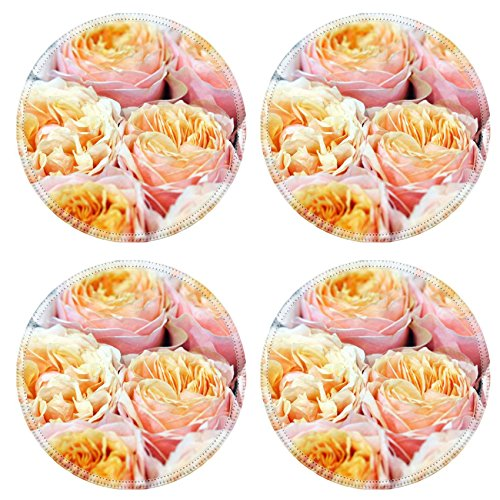MSD Round Coasters Non-Slip Natural Rubber Desk Coasters design 22558495 l Close up view of a bouquet of delicate hybrid fresh fragrant pink and orange roses - Hybrid Round Table