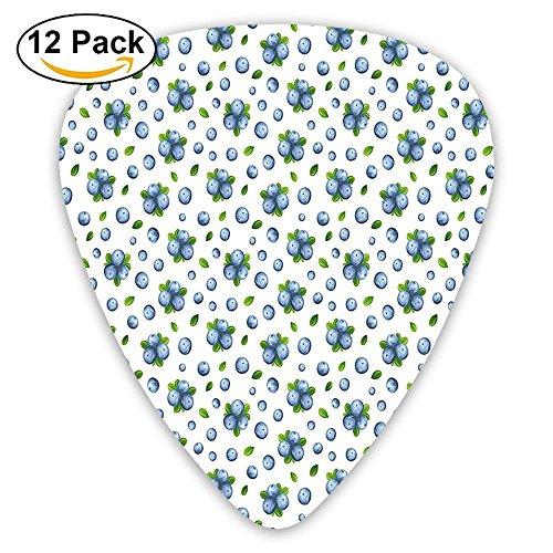Newfood Ss Fresh Blueberries Ripe Juicy Fruits Summer Organics Food Painting Style Guitar Picks 12/Pack Set