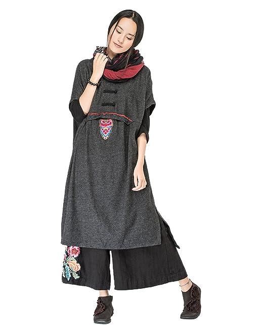 Mujer Vestidos Invierno-Vestido de Lana Sin Mangas