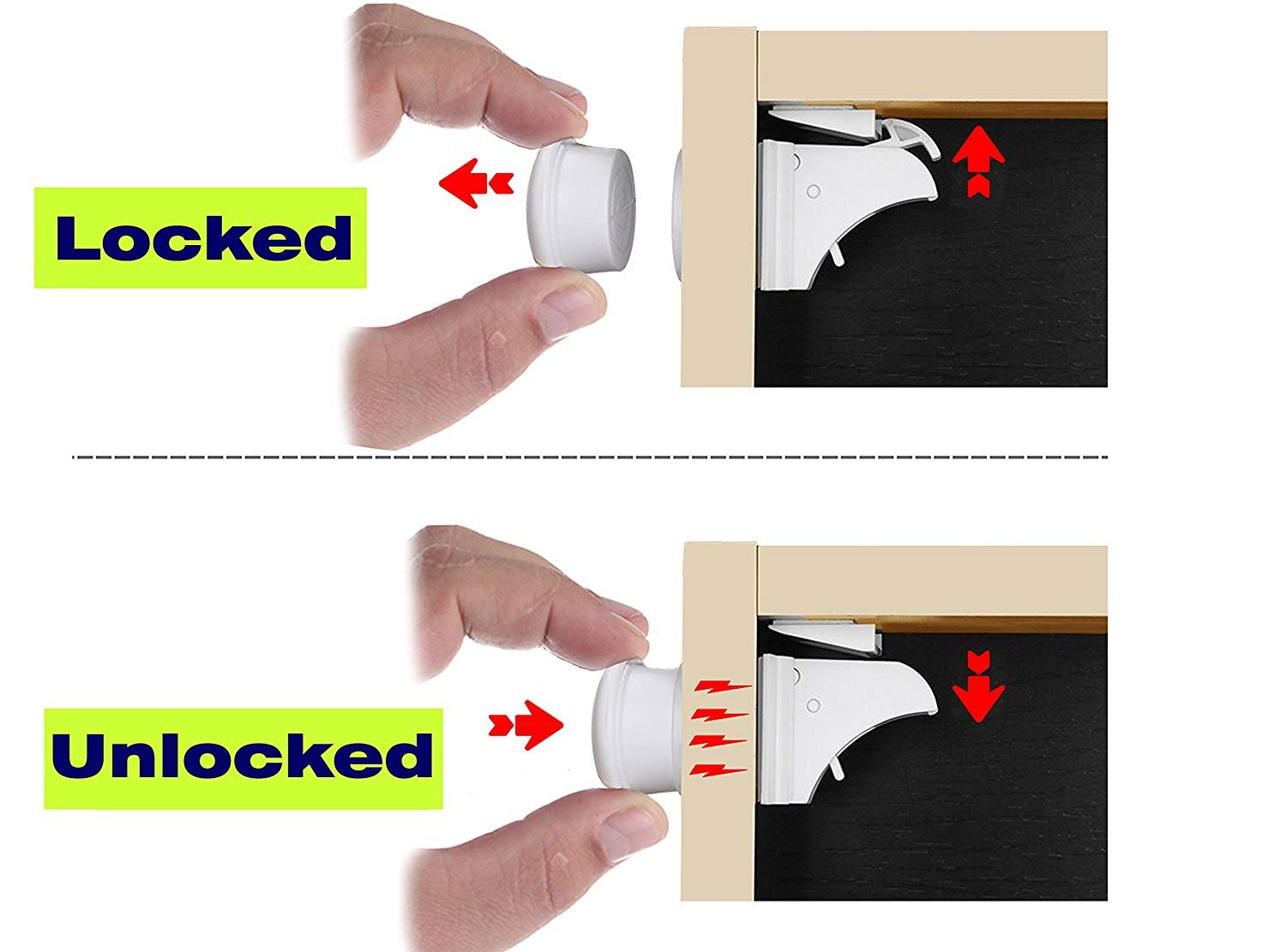 Child Safety Magnetic Cabinet Locks - Invisible Baby Proof Latch Set 8 Locks & 2 Keys Heavy Duty Locking System for Proofing Cabinets Drawers Doors Kitchen with 3M Adhesive (Tools aren't Required) by D-Panda-Safety (Image #8)