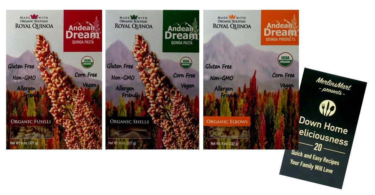 Andean Dream Organic Vegan Gluten Free Quinoa Pasta 3 Shape Variety Plus Recipe Booklet Bundle: (1) each: Fusilli, Shells, Elbows (8 Ounces) by Andean Dream