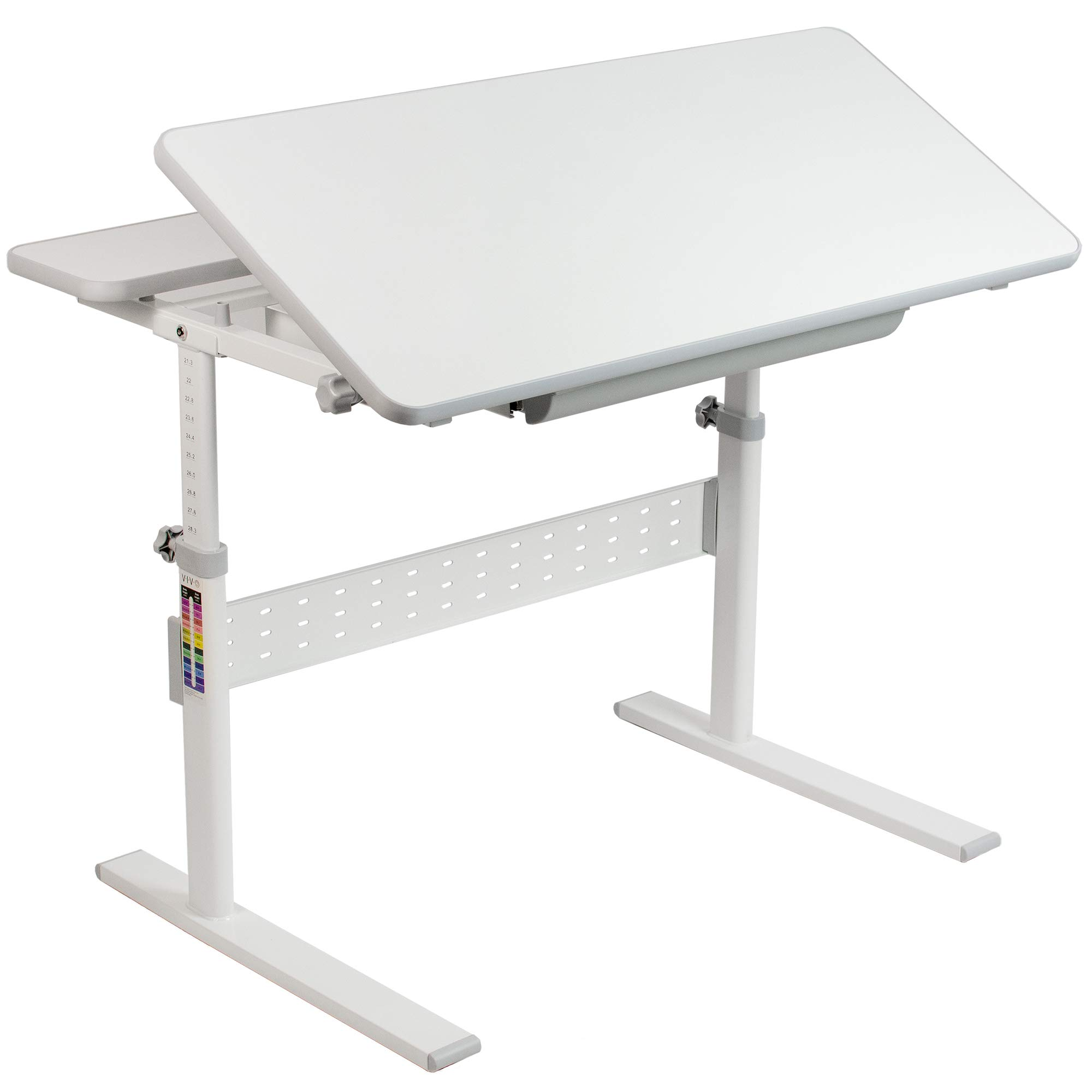 VIVO White Height Adjustable 38 inch Desk for Children | Kids Interactive and Ergonomic Sit to Stand Workstation with Tilting Desktop and Storage Drawer (DESK-V503G) by VIVO