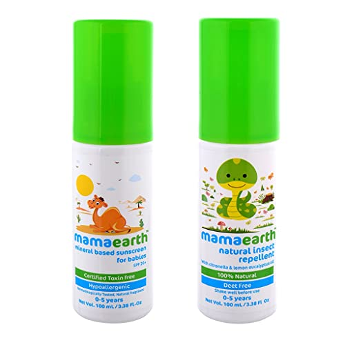 Mamaearth Mineral Based Baby Sunscreen, 100ml with Natural Insect Baby Repellent, 100ml