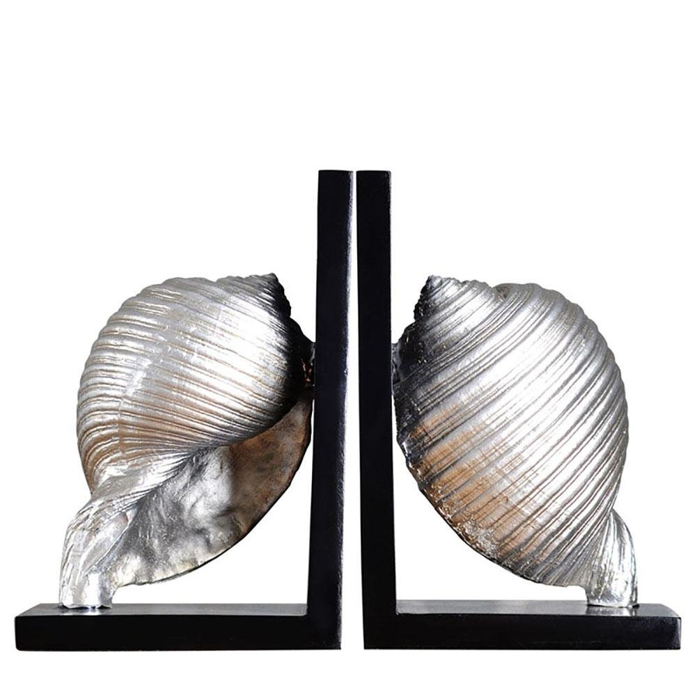 LPY-Set of 2 Bookends Resin Conch Style Handicrafts, Book Ends for Office or Study Room Home Shelf Decorative (Silver)