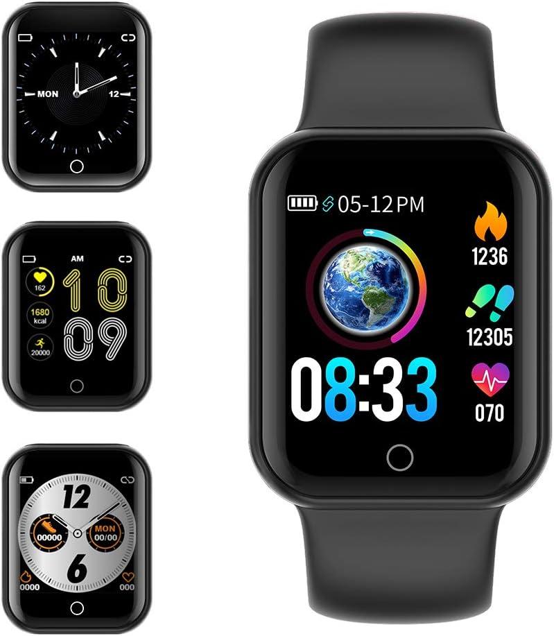 Smartwatch, KUNGIX Reloj Inteligente Impermeable IP68 Pulsera de Actividad Inteligente con Monitor de Sueño Pulsómetros Podómetro Contador de Caloría, para Hombre Mujer niños (Negro)