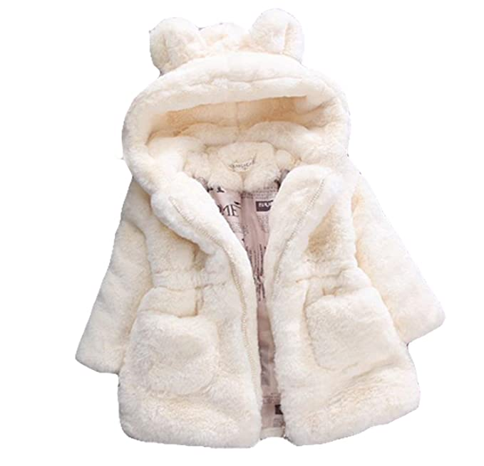 f8c635dca0ce Gaorui Baby Girls Kids Hooded Rabbit Coat Faux Fur Warm Jackets ...