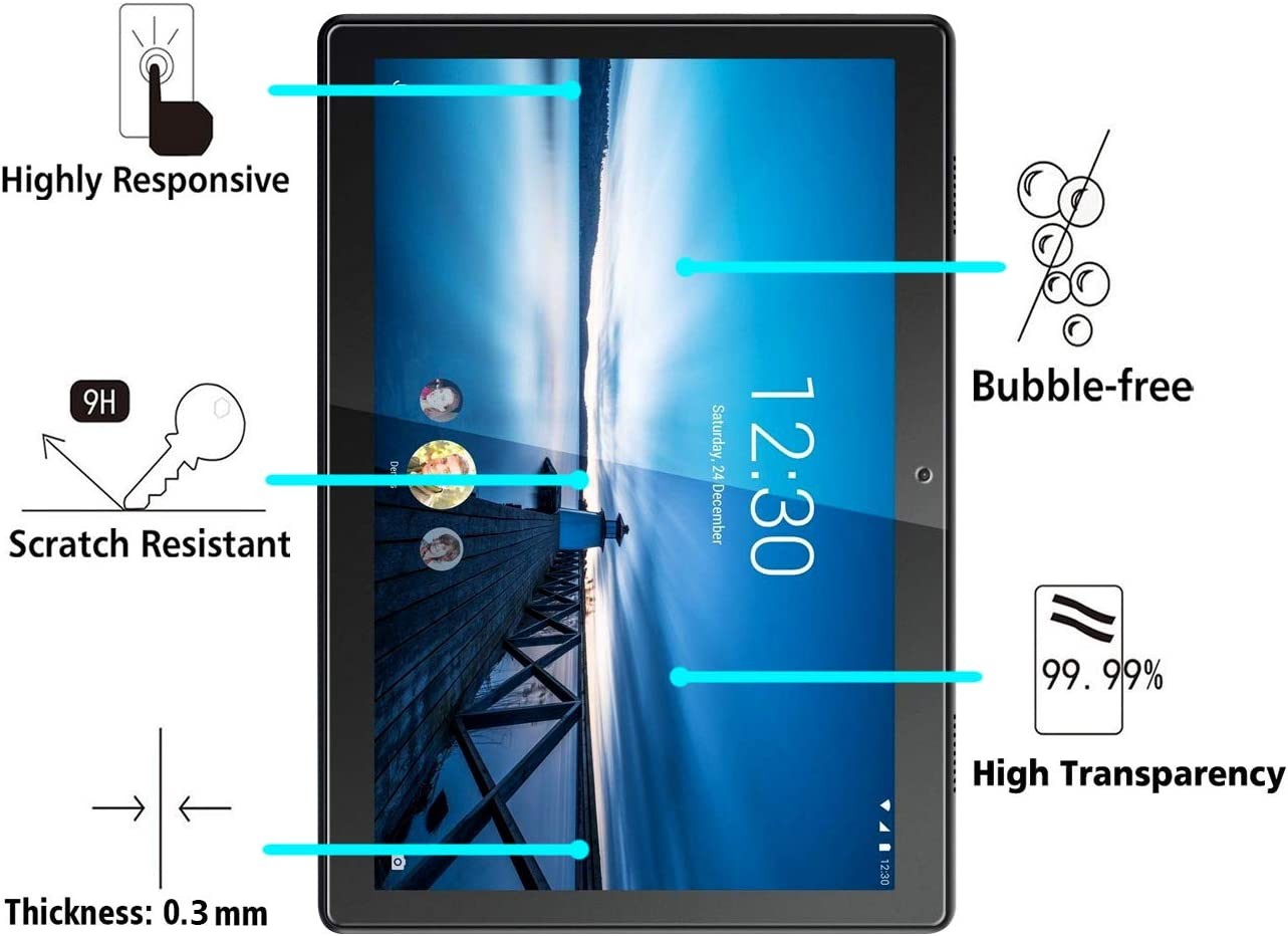 ivoler 2 Pack Screen Protector for Lenovo Tab M10 10.1 inch Tempered Glass Film for Lenovo Tab M10 10.1 inch, Anti-Scratch 9H Hardness Crystal Clear Bubble Free