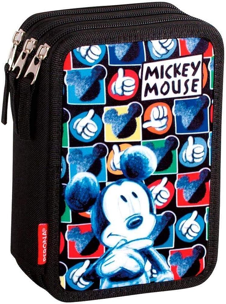 Montichelvo Mickey Mouse Hands - Plumier de Triple Compartimento 45 Piezas, Estuche (Perona 55387): Amazon.es: Ropa y accesorios