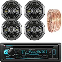 Kenwood KDCBT31 Car CD Player Receiver Bluetooth USB AUX Radio - Bundle Combo With 4x Kicker 43CSC654 600W 6.5 CS Series 2-Way Black Car Speakers + Enrock 50 Foot 18 Gauge Speaker Wire