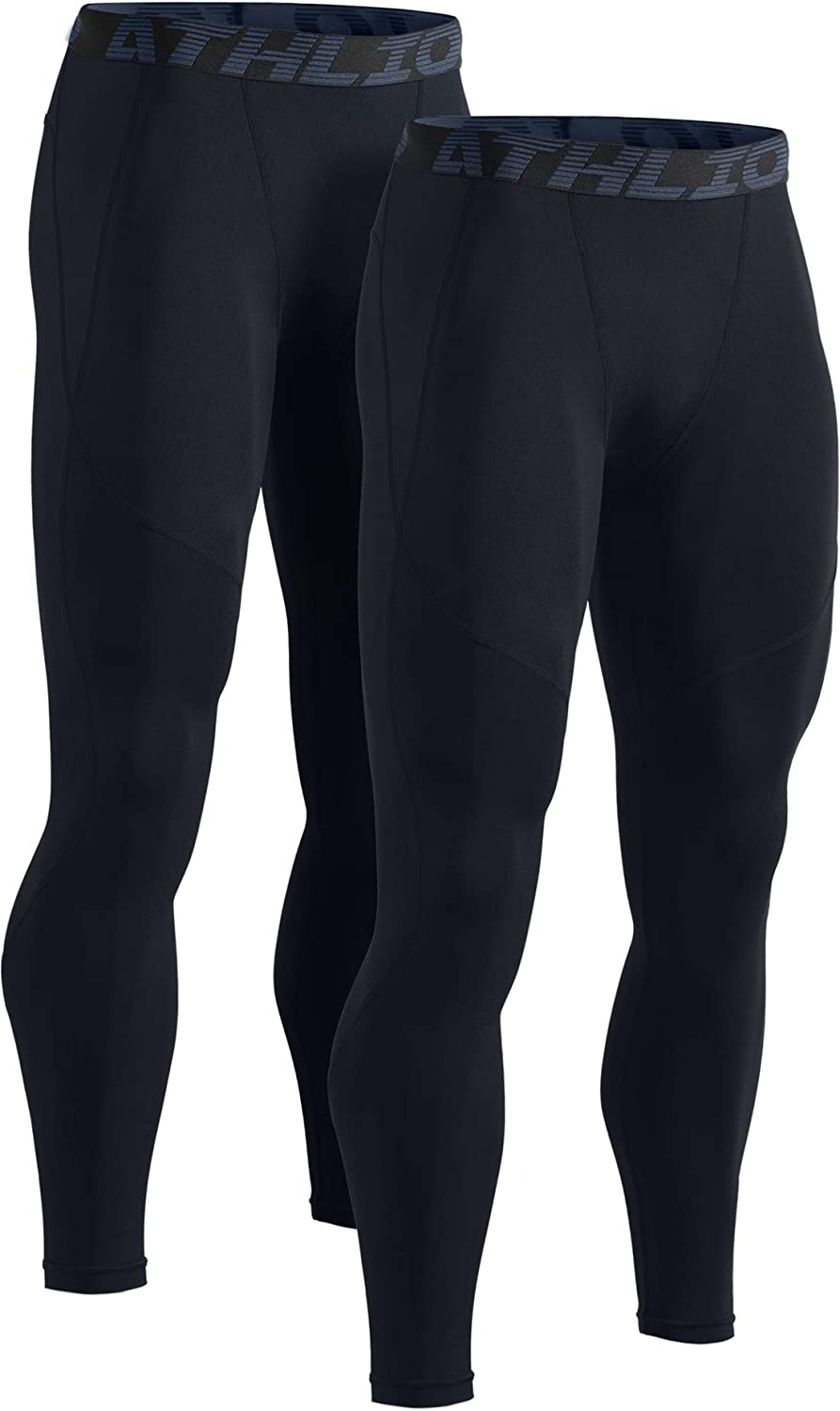 Compression Pants Workout Running Baselayer Active Cool Dry Leggings Tights TSLA Mens Pack of 1,2