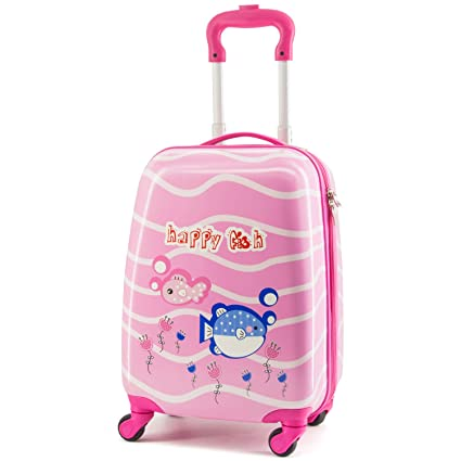 2f07ae26045f Baobab'sWish Kids Suitcase 16 inch Polycarbonate Carry On Luggage,  Lovely,Hard Shell,Girls,Children Travel (red-Fish)