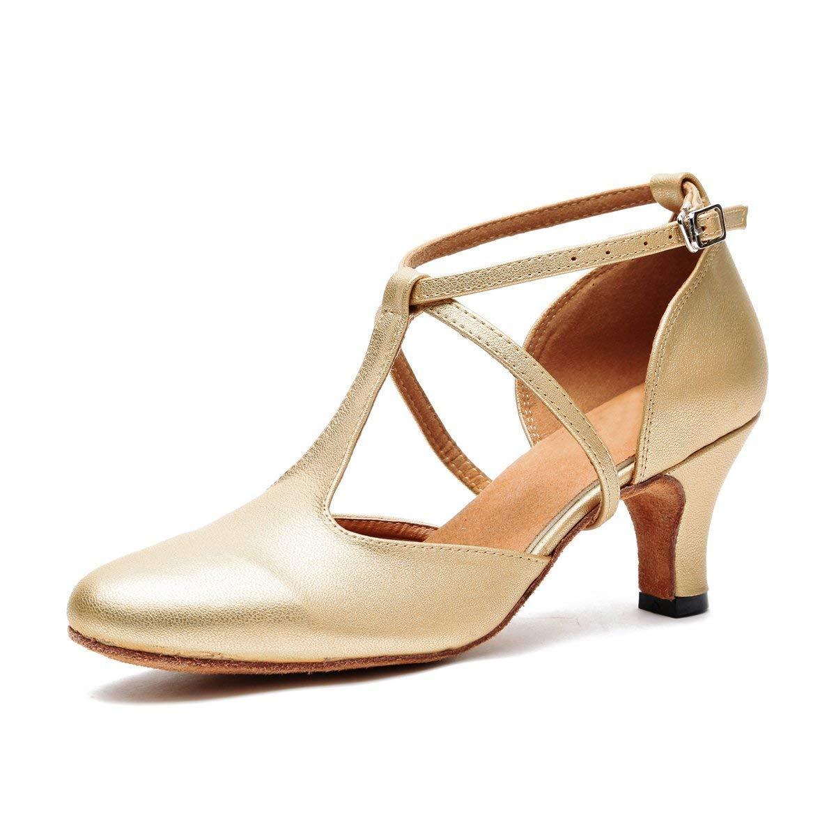 Qiusa Damen T-Strap Ballroom Latein Salsa Tanzschuhe Gold Braut Hochzeit Pumps UK 5 (Farbe   - Größe   -)