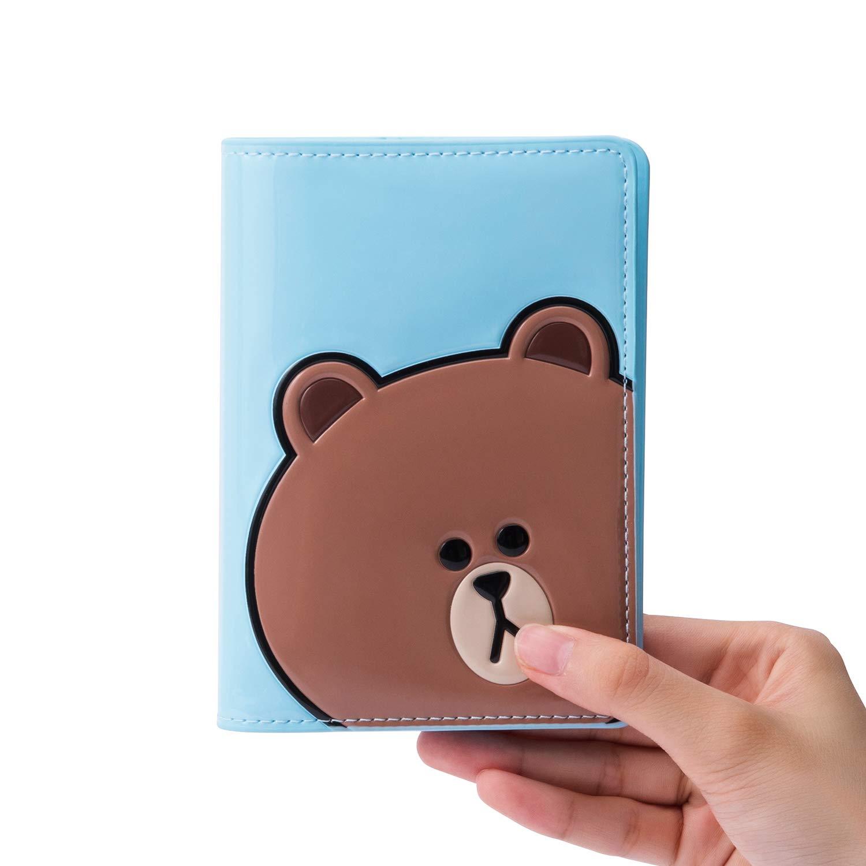 0373cd439a88 Line Friends Enamel Passport Holder - BROWN Character Wallet Cover Travel  Organizer, Sky Blue