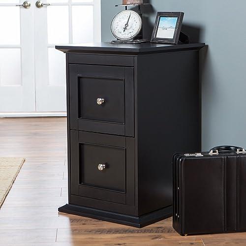 Belham Living Hampton 2-Drawer Wood File Cabinet – Black