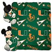 The Northwest Company Officially Licensed NCAA Miami Hurricanes Co-Branded Disney's Mickey Hugger and Fleece Throw Blanket Set