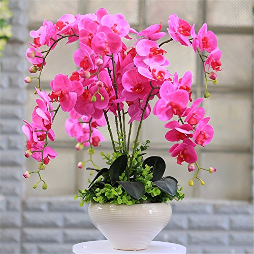 SituMi Artificial Fake Flowers Orchid Bonsai Ceramic Vase...