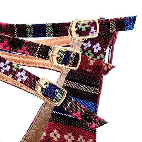Kvinna Sommar Sandaler Vintage Fritidskläder Platta Skor Bohemiska Pärlstav Pu Med Dragkedja I Ryggen Vinröd