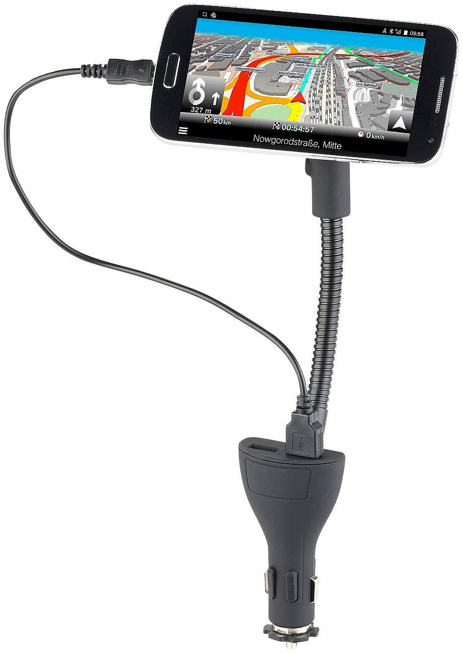 Callstel - Cargador de Coche: flexible - Soporte magnético con 2 puertos USB para smartphones, 3,1 A (universal de soporte de cuello de cisne): Amazon.es: ...