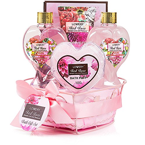 Valentines-day-gifts-for-him-her-Spa-Basket-in-Red-Rose-Fragrance-Lovely-Heart-Home-Spa-Set-Luxury-Bath-Body-Set-Contains-Shower-Gel-Bubble-Bath-Body-Lotion-Bath-Salt-Heart-Wired-Basket