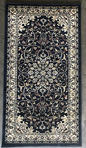 Entryway Traditional (Traditional Persian Area Rug 330,000 Point Dark Navy Blue Deir Debwan Design 603 (31 Inch X 4 Feet 11 Inch))