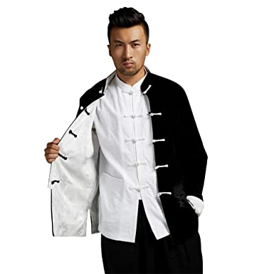 7d592d6c99e Amazon.com  Men s Chinese Traditional Festivals Tang Suit Spring And Autumn  Kung Fu 2 Sides Coat  Clothing