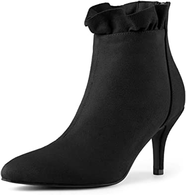 Ladies Womens Black High Heel Stiletto Faux Fur Collar Chelsea Ankle Boots Size
