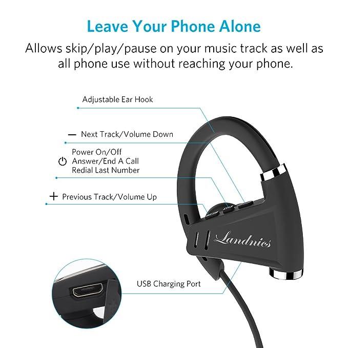 Auriculares Bluetooth 4.1 Impermeable IPX7, Deportivos Inálambrico Sonido Estéreo 12 Horas de Reproducción Micrófono Incorporado para iPhone Samsung Sony ...