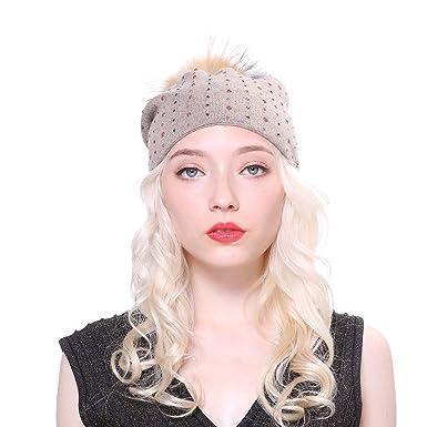 254aafe91964 URSFUR Bonnet Tricoté avec Strass Acrylique en Laine pour Femme Chapeau  Laine avec Boule de Raton