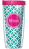 Mimi On Teal Roundabout Wrap Traveler 16 Oz Tumbler Cup with Pink Lid