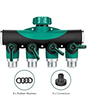 Calish Garden Hose Splitter, Outdoor Utility Hose Connector, Comfortable Rubberized Tap Connector